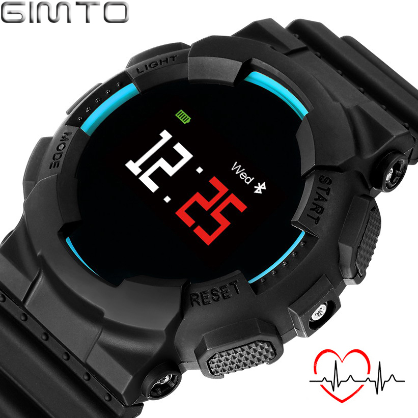 GIMTO Big Sport Smart Watch Men Heart Rate Blood Pressure Electronics Digital Watch Waterproof LED Military Clock Men Smartwatch<br>