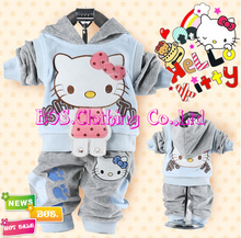 [Bosudhsou] Sport Suits Hoody Jackets/coat+Pants Autumn Baby 2pcs Set Girl's Hello Kitty Children Clothing Sets Boy's Velvet
