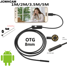 JCWHCAM HD 720P 2MP 8mm Android USB Endoscope Camera Snake Flexible USB Endoscope 1M 2M 3.5M 5M Android OTG USB Borescope Camera(China)