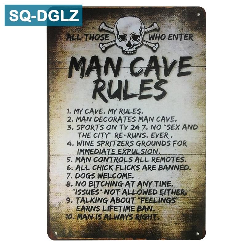 """MAN CAVE RULES"" Metal Sign Retro VintageWall Decor"