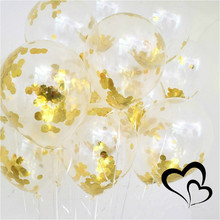 5pcs/pack New 12 Inch Paper Gold Sequins Clear Balloon Things Confetti Ballon Transparent Wedding Birthday Party Decoration Ball(China)