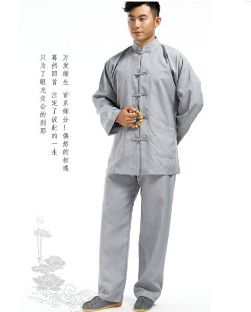 Linen red//blackblue Buddhist shaolin monks suits zen robe lay meditation uniform