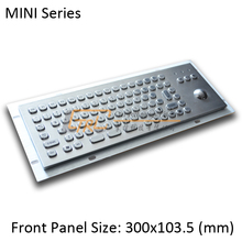 MINI 86 keys stainless keyboard with optical trackball, mini metal trackball keyboard, mini kiosk keyboard