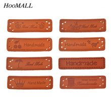 Hoomall 10PCs Hand Made Labels PU Leather Tags On Clothes Garment Labels For Jeans Bags Shoes Sewing Accessories(China)