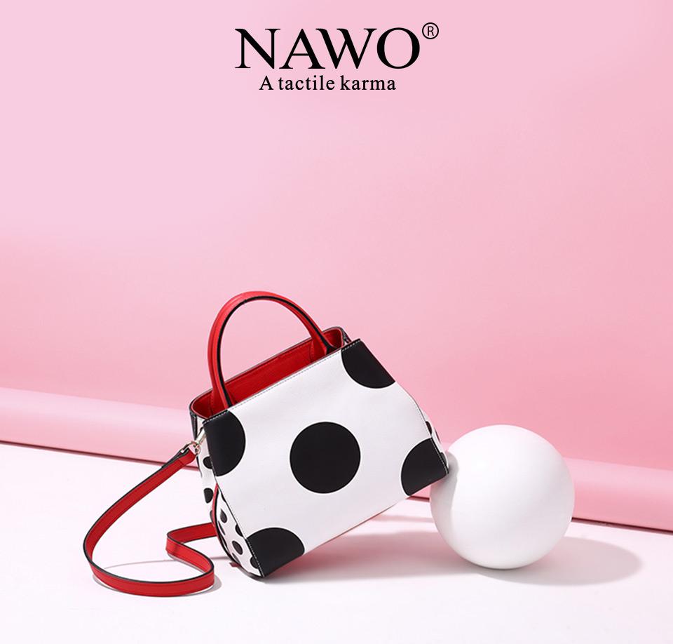 NAWO Famous Brands Women Leather Handbags Designer Women Bag Dot High Quality Shoulder Messenger Bags Luxury Hand Bags Female 2