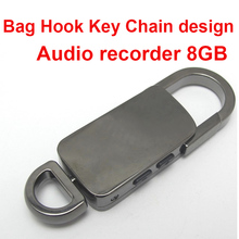 voice activated 8GB voice recorder hook design audio recorder key chain digital voice recorder music MP3 player audio player(China)