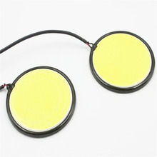 2Pcs Car Best Round Fog Light Source Led DRL Car Daytime Running Driving Lights COB 67mm 120 SMD Xenon White 6000K DC12V -24V