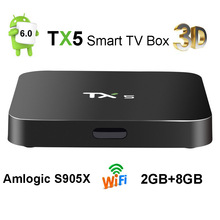 TX5 Android Smart TV Box 2G 8G Amlogic S905X Quad Core 2.0Ghz Mini PC Wifi RJ45 4K H.265 3D Media Player DTS Set Top Box DHL