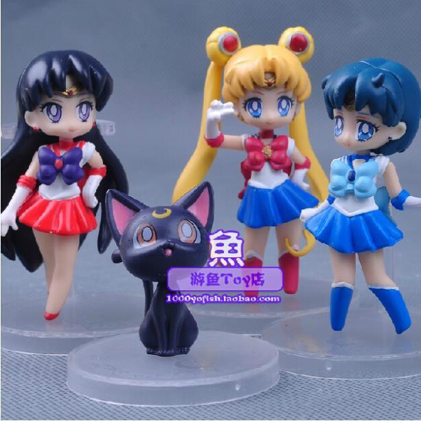 Free Shipping Anime Cartoon Cute Sailor Moon Sailor Mars Sailor Mercury Luna Q Version Action Figure Toys Dolls 4pcs/set SAFG013<br><br>Aliexpress
