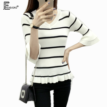 Autumn Winter Basic Tops Cute Japan Clothes Women Slim Fashion Half Sleeve Pullovers White Black Striped Knit V Neck Sweaters(China)