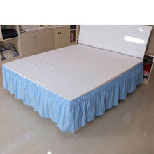Bed-Skirt Queen-Size Elastic-Band Dust-Ruffle White Hotel Easy-On Without-Surface