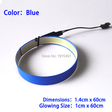 Popular 8 Colors Style 1.4X60CM Trendy EL Tape EL wire LED Strip For dispaly,model, Car Moulding Decoration,Without Drivers(China)
