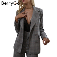 BerryGO Casual grid women suits blazer Lady office suits blazer female 2017 autumn gray formal jackets pocket button suits(China)