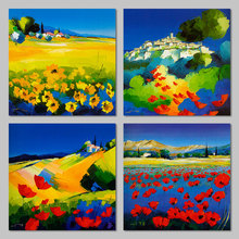 Impressionist landscape mountain Blue sky decoration sunflower wall art picture red flowers Canvas Painting home decor unframed