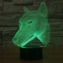 Dog 3D USB Led night light 7colors changing christmas mood lamp touch button kids living/bedroom table/desk lighting(China)