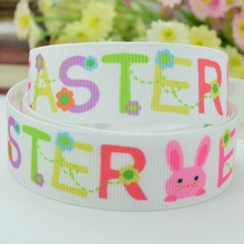 7/8 inch Letters Flowers Happy Easter Grosgrain Ribbon Bunny Rabbit  4 Hairbow 50yards/lot