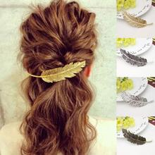 New Fashion Women Charming Vintage Gold/Silver Leaf Feather Hair Clip Hairpin Barrette Bobby Pins Hair Popular Hair Accessories