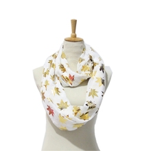 2017 Canada Maple Leaf Foiling Print Infinity Scarf Gold Foil Maple Plant Loop Shawls Cotton Viscose Snood Ring Scarves YG221(China)