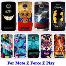 AKABEILA Cases For Motorola Moto Z Force Z Play Droid Edition Verizon X 4 XT 1635-03 XT1635 Cat Tiger Soft TPU Hard PC Covers