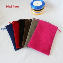 Top Quality 10x14cm Drawstring Black/Red/Coffee/Blue/Grey/Rose Double-sided Soft Velvet Pouch Bags Packaging Gift Bags 20pcs/lot