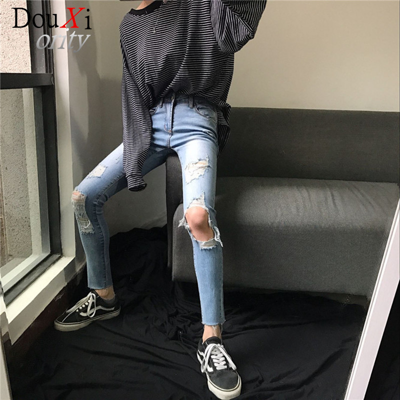 fashion Blue Ripped Letter Print Skinny Ankle Pants Women Trousers Mid Waist Cropped Button Flexible women JeansОдежда и ак�е��уары<br><br><br>Aliexpress