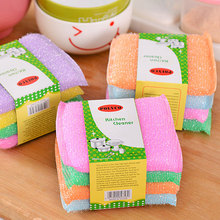 4 pcs/lot Colorful Sponge Brush Strong decontamination Tableware Glass Wash dishes Cleaning kitchen rag towl home Cleaner Tools