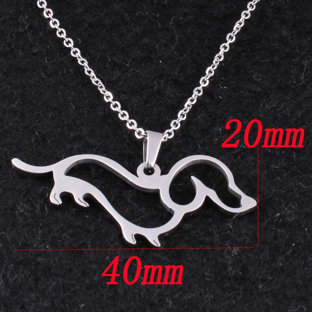AMORUI Women Gold Silver Dachshund Chain Pendant & Necklace Dog Puppy Pet Necklaces Fashion Trendy Women Animal Pendant Collier 18