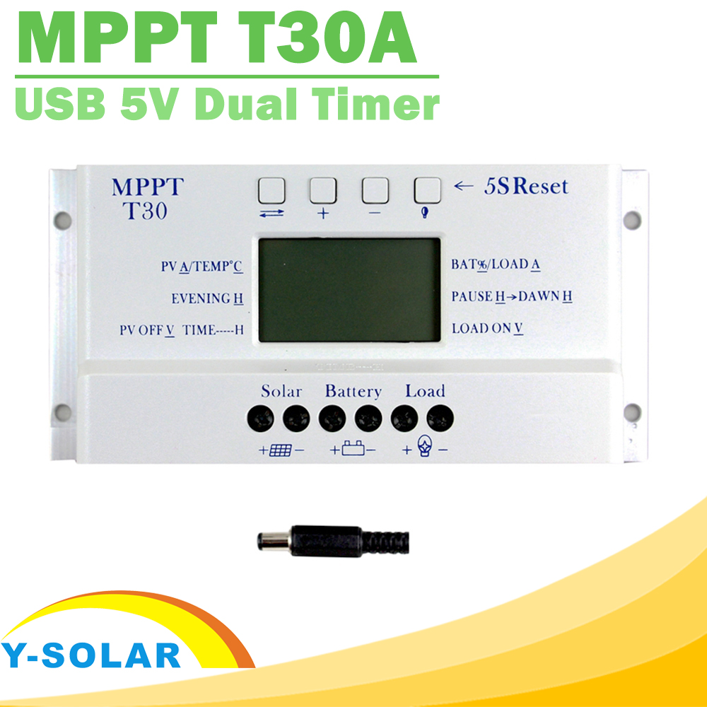 NEW MPPT T30 Solar Controller LCD display CE certificated Light and dual timer control Voltage settable 30A 12V 24V auto work<br>