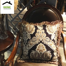 2016  Be Home Luxurious Black Damask Chenille Jacquard Woven Cushion Cover Fringe Sofa Pillow Case 45 x 45 cm Sell by 1 piece