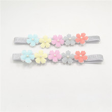 16pcs/lot Two-layer Rainbow Color Flower Stretch Headband Spring Floral Glitter Elastic Head Band Sparkly Fairy Girls Headwrap