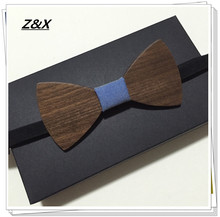 Z&X Hot Sale European Fashion 2 Styles Simple Design Solid Maple Wood Bow Tie For Men Butterfly Neck Tie