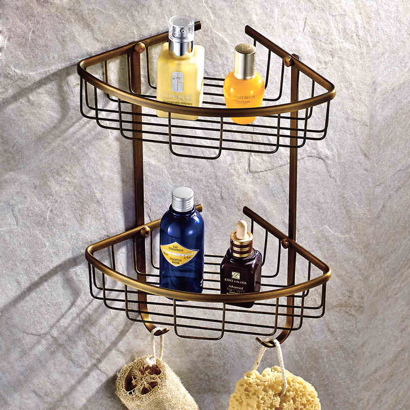 Antique Brass Two Layer Towel Washing Shower Basket Solid Brass Shelf Wall Mounted Bathroom Accessories Corner Bracket AC<br>