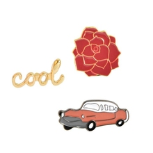 Vintage Fashion Car Letter Flower Brooch Pin On Cartoon Cute Metal Brooch Badge For Clothes Jeans Jacket Scarf DIY Craft Decor(China)