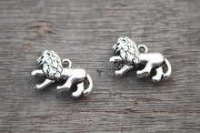 10pcs--Lions Charms Antique silver Tone Lions charm pendant double sided 22x15mm(China)