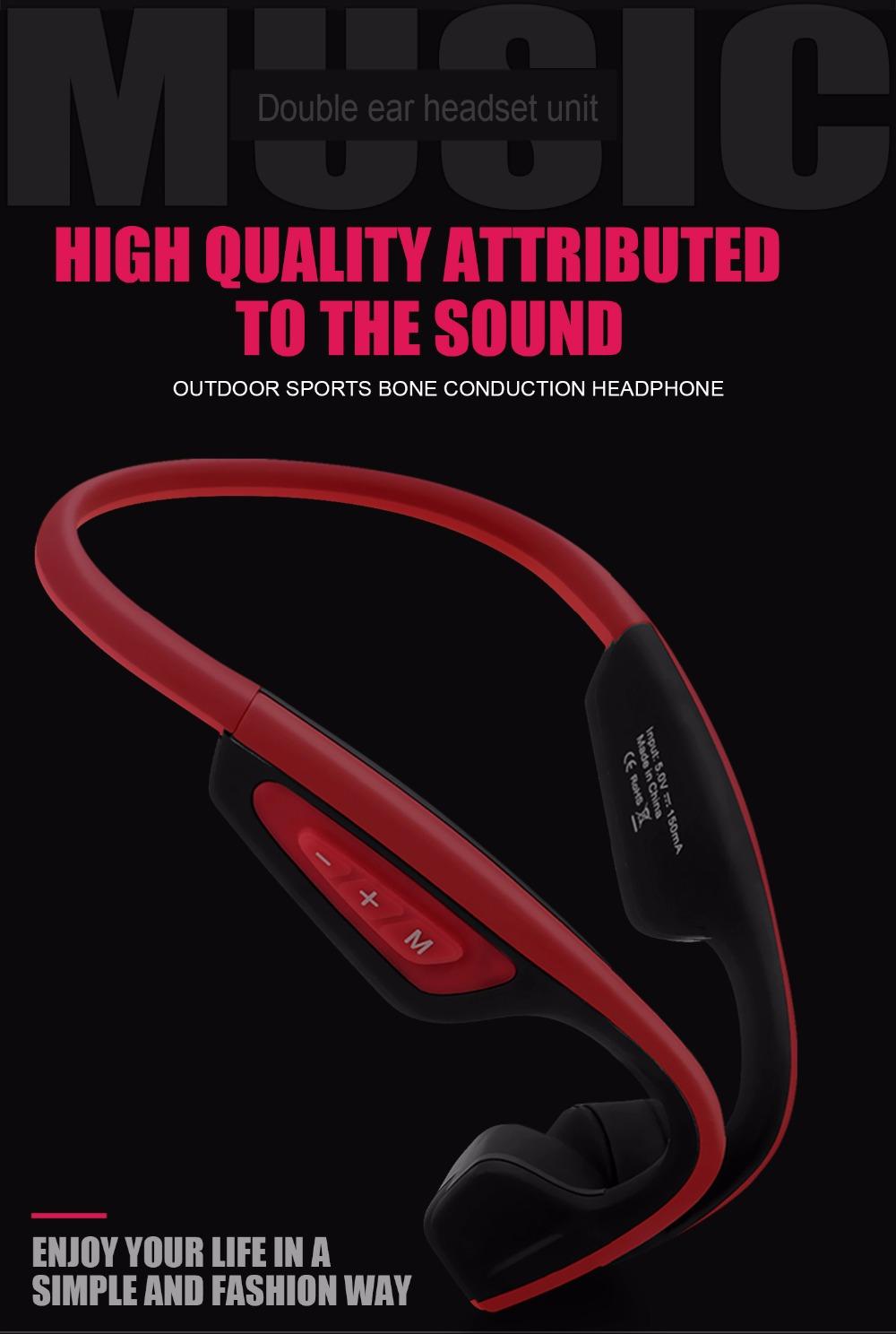 S.Wear Bluetooth Bone Conduction Headset Wireless Sports Headphones Handsfree Phone Calls Music Earphones LF-19 With Box 3 Color