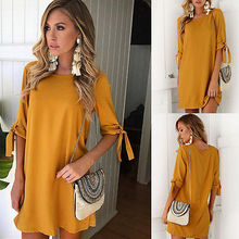 Women Ladies Dress Party Yellow Short Sleeve Mini Casual Summer Casual Short Mini Dresses Women