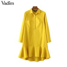 Vadim women solid ruffles mermaid dress pleated turn down collar long sleeve yellow white dresses female vestidos QZ3160