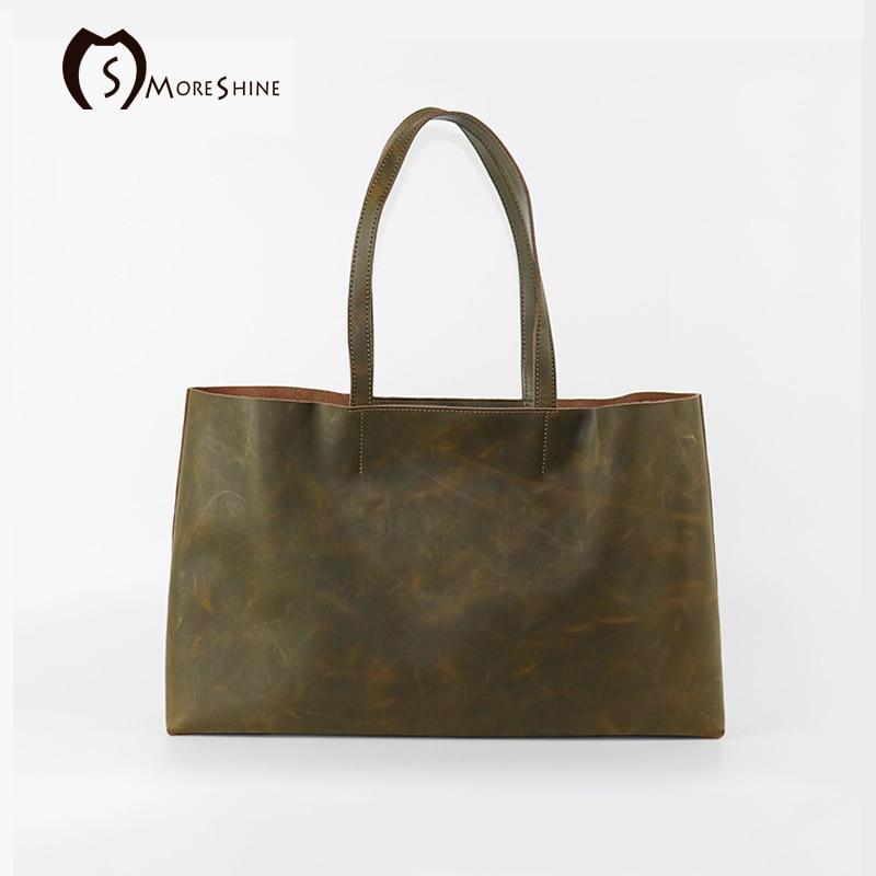 Women Genuine crazy-horse leather handbags 100% Handmade Original design Nubuck womens big tote bag Female Casual shoulder bag<br><br>Aliexpress