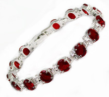 "Fine Ms. UA style Pulseras  Color red stone ruby bracelet watch Wholesale 7.5"" 19cm Wedding Girl MEN 2pcs Silver"