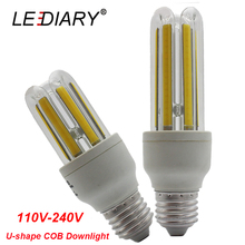 LEDIARY Super Bright U-shape E27 LED Corn Bulb 110V-240V Real 5W/9W Bombillas LED E27 COB Lamp 2U Energy Saving 3500K/6500K(China)