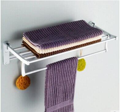 wall mounted Aluminium Bathroom Accessories foldable hotel towel rack towel shelves<br>
