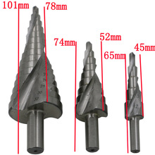 3pcs HSS 4241 HSS spiral flute step Drill Bit Set core drill bit cone Step Drill Bit Set hole cutter