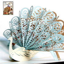 3D Laser Cut Handmade Colorful Cover Flaunting Tail Peacock Paper Greeting Cards PostCard Children Kids Creative Gift Souvenir
