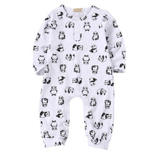 Autumn Hot Sale Newborn Infants Baby Girl Boy Panda Print Buttons Clothes Long-sleeved Romper Leggings Cute Lovely Outfits(China)