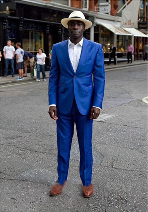 736 Beach Style Groom Blazers Royal Blue One Button Men Dress suit Terno Masculino Formal Wedding mens suits (Jacket+Pants)