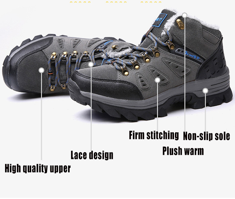 Luxury Men Boots Men Winter Snow Boots Warm Fur&plush Lace Up High Top Work Men Designer Driving Sneakers Male Winter Boots 8