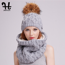 Buy Furtalk winter women knitted hat scarf set raccoon fur pom pom beanie hat scarves girls for $20.39 in AliExpress store
