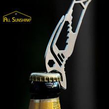 Multifunction EDC Outdoor Stainless Steel Bottle Opener Corkscrew Keychain Key Holder Screwdriver Wrench Fast Knot Buckle