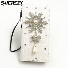 Christmas Gifts Snowflake Leather Bling Diamond Rhinestone Card Phone Cover for iPhone 4 4s 5 5s 5c SE 6 6s 7 8 X Plus Case(China)