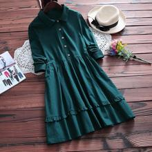 Spring Fall Vintage Retro Hippie Boho Lolita Cute Rockabilly Harajuku Mori Girl Sweet Ruffle Cotton Peter Pan Collar Loose Dress